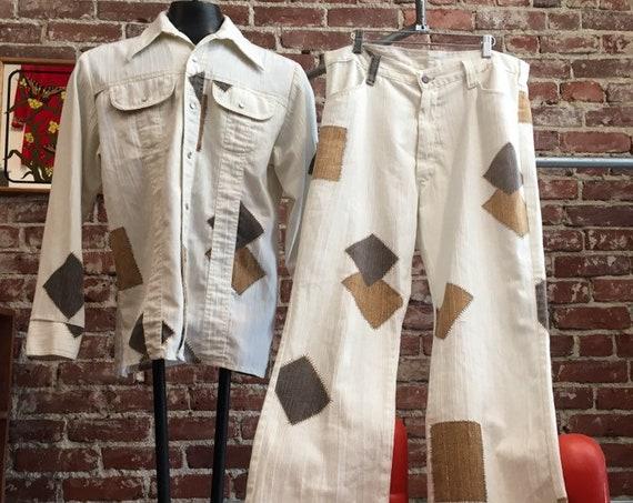 70s Men's Patchwork White Suit Size Large
