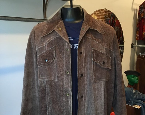 70s Men's Suede Mocha Snap Button Shirt Cut Jacket