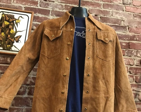 Mens 70s Buttery Soft Suede Snap Button Jacket