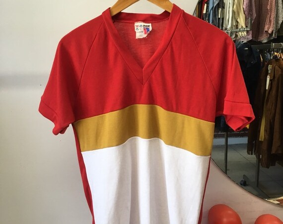 70s Men's Mod Red and Mustard Color Block Tee