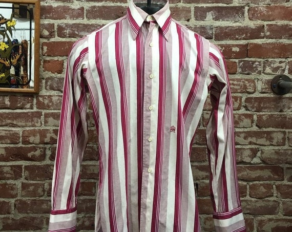 70s Oleg Cassini Striped French Cuff Dress Shirt