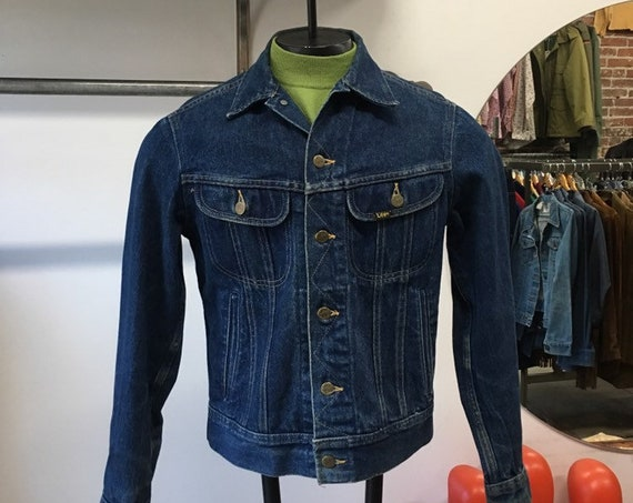 70s Men's Lee Riders 100 % Cotton Dark Denim Jacket Size 36R