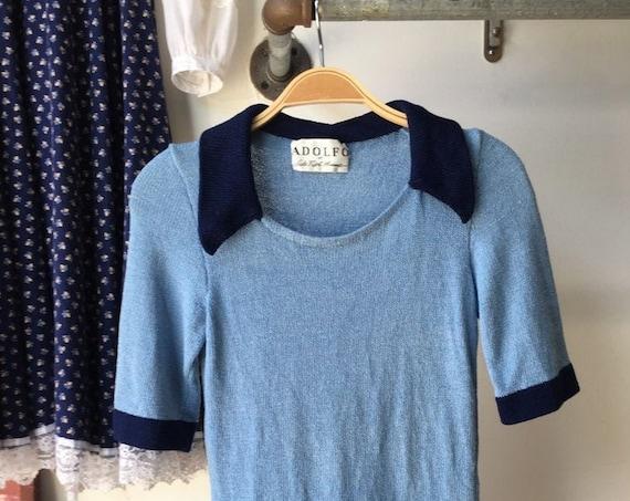 70s Men's Adolfo Sax Fifth Avenue Mod Knit Shirt