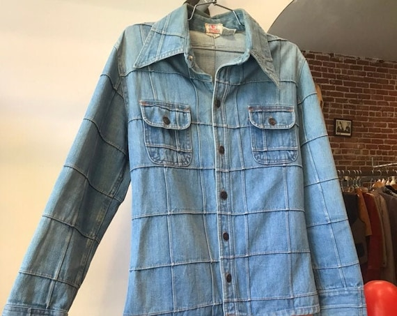 Reserved for Bongo. 70s Mens Denim Window Pane Jacket