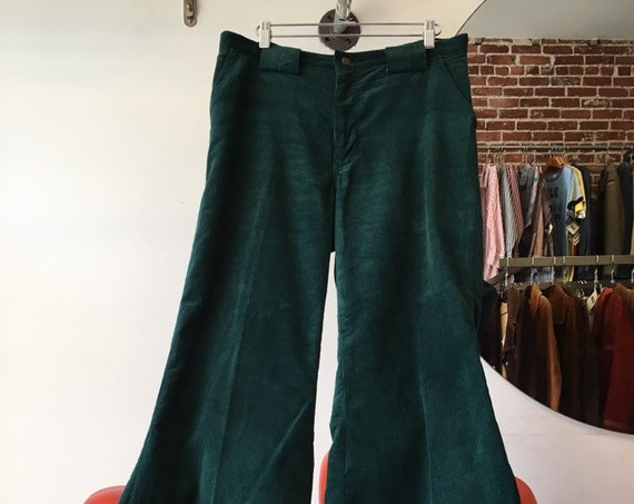 70s Emerald Green Corduroy Flares