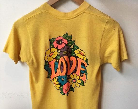 70s Love Combed Cotton Iron On Tee