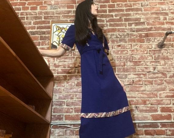70s Navy Acrylic Blend Dress with Cotton Floral Trim. Key Hole Neckline.