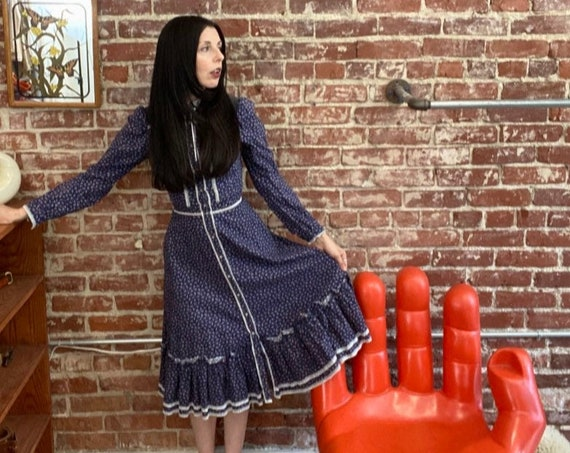 70s Gunne Sax Calico Prairie Dress with Corduroy detail 100 % Cotton Gunnies Size 5 Size Petite