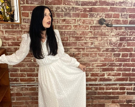 70s White Sheer Cotton Long Shirt Dress Size Medium