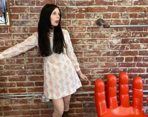 70s Long Sleeve Mini Dress Size Petite