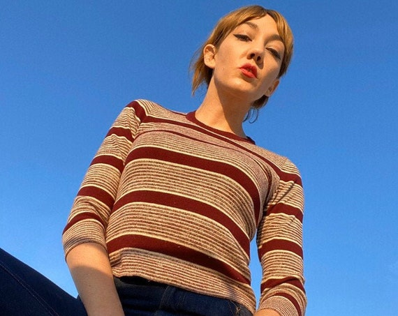 70s Striped Deep Red Long Sleeve Sweater