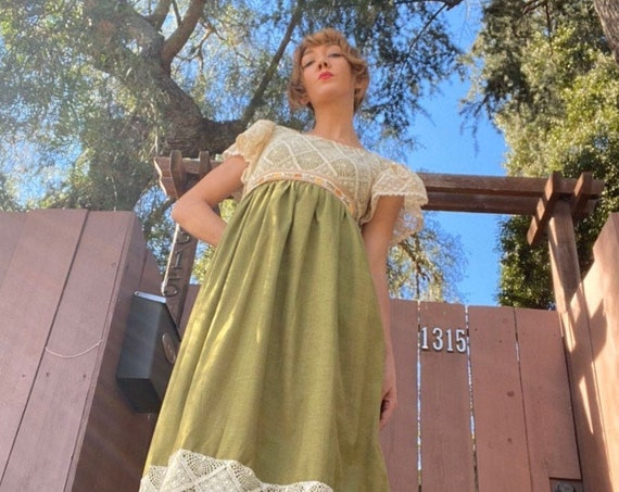 Late 60s Early 70s Olive Green & Crochet Lace Embroidered Cotton Linen  Gown by Couriers