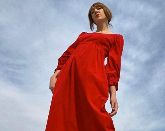 70s Ruby Red Velvet Gown Size Medium