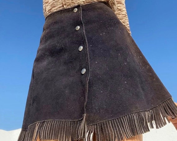 70s Suede Fringe Snap Button Mini Skirt