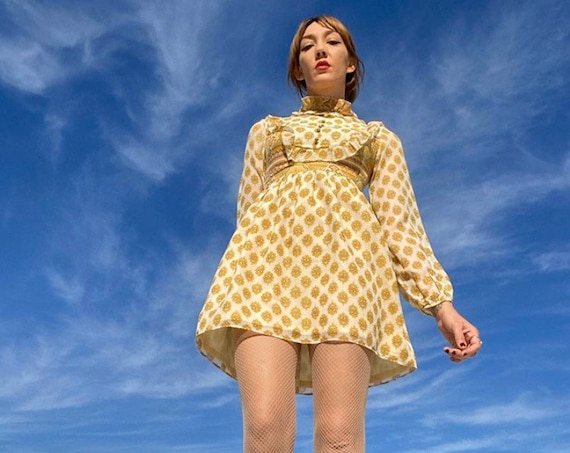 70s Cotton Sheer Sleeve Psychedelic Mini Dress