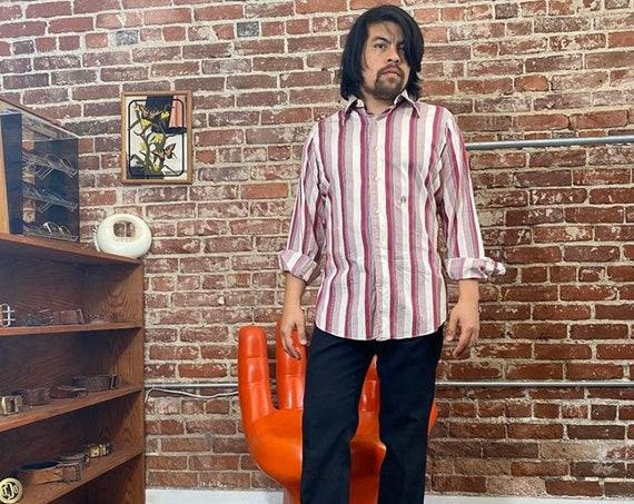 "70s Men's Oleg Cassini Striped French Cuff Button Down Shirt 40"" Chest"