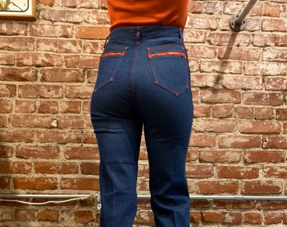 70s Strait Leg Jeans Contrasting Red Zippers