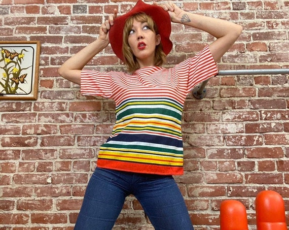 70s Striped Juicy Fruit Cotton Tee Shirt Size Medium