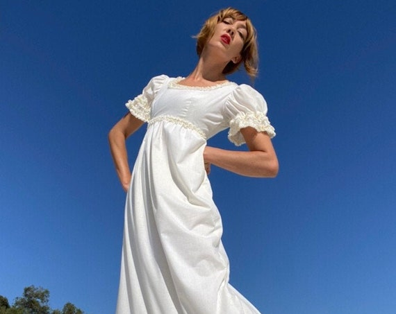 70s Ruffled Lace Encrusted Swiss Dot White Prairie Gown Dress Fully Lined
