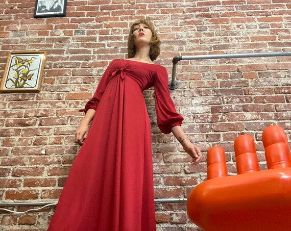 70s Ruby  Red Bishop Sleeve Nylon Gown