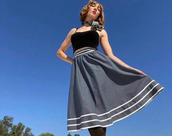 "70s Navy Blue Gunne Sax Size 7 Prairie Skirt 25"" Waist"