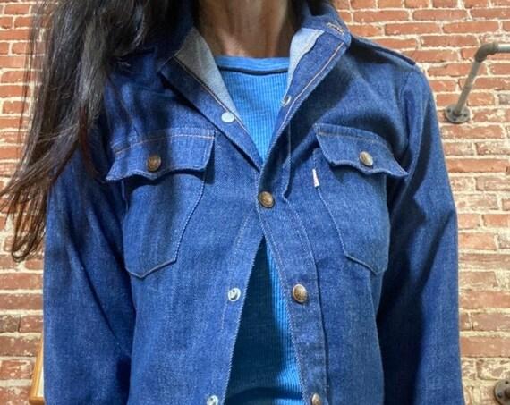 70s Levis Brushed Denim Shirt Cut Jacket Size Petite