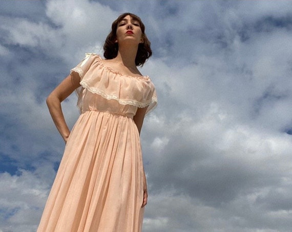 70s Gauze Cotton Peach Victorian Gown Fully Lined