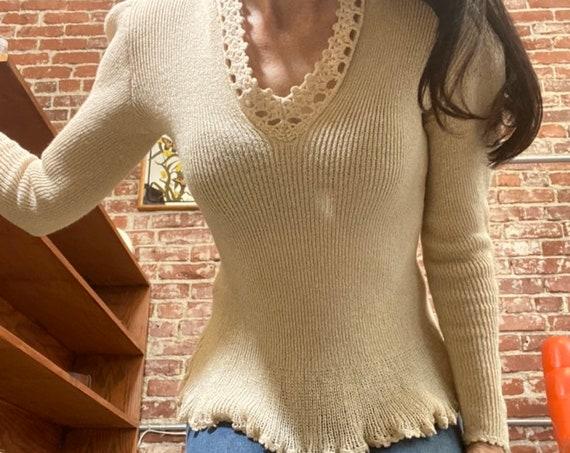 70s Ivory Crochet Acrylic Knit V-Neck Sweater