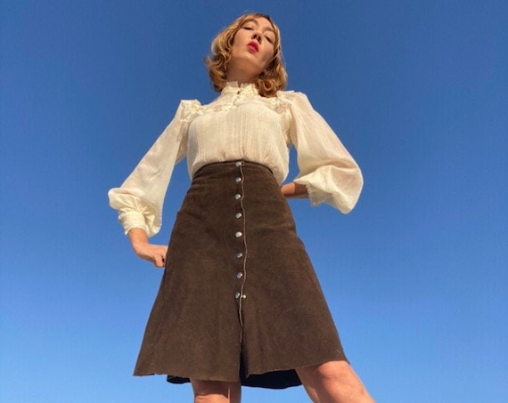 70s Espresso Suede Snap Button Skirt