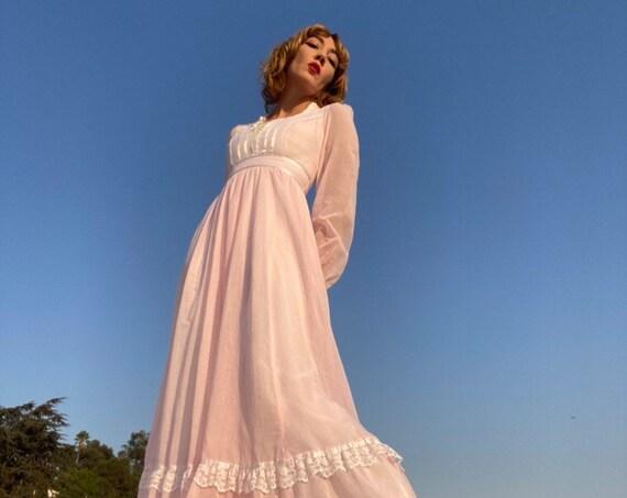 70s Gunne Sax Voile Pink Victorian Gown Size 9