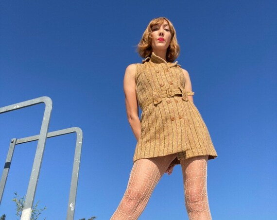60s Ultra Mod Pin Striped Belted Mini Dress