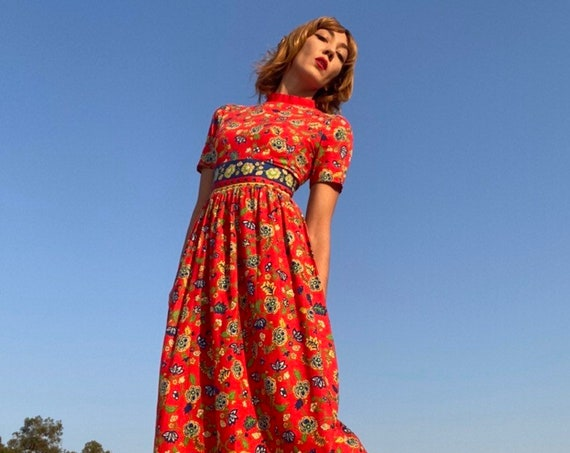 70s Red Cotton Botanical Floral Gown
