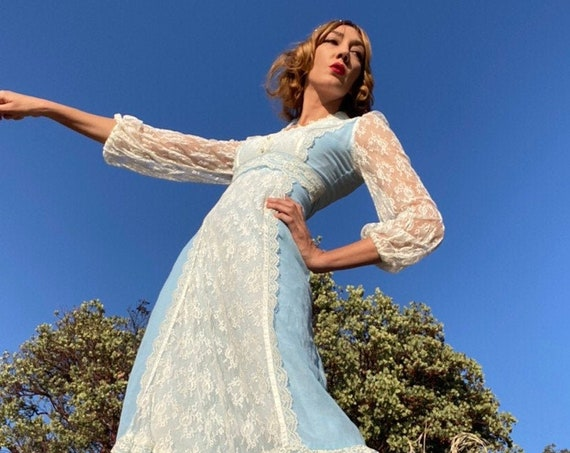 70's Sky Blue Cotton Victorian Gown With Sheer Lace Sleeves