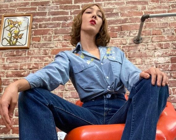 """70s Lee Riders Women's Dark Denim High Waist Jeans 28"""" Waist by 34.5"""" Inseam"""