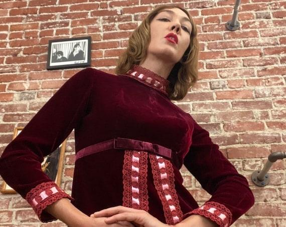 70s Red Velvet Victorian Gown Size Medium