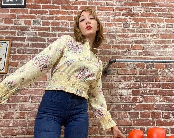 70s Bobble Brooks Dagger Collar Ruched Peplum Waist Floral Yellow Blouse Size Medium