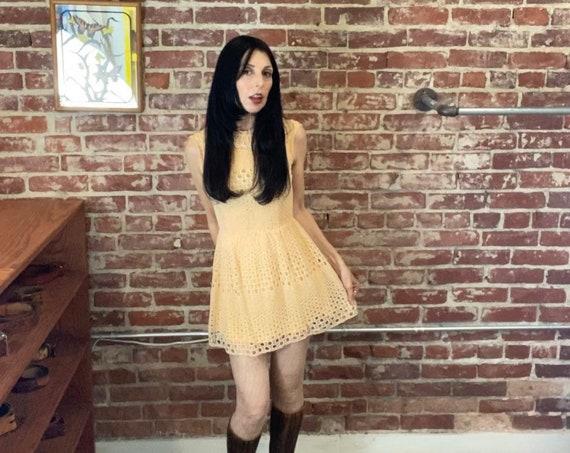 60s Op Art Cotton Mini Dress