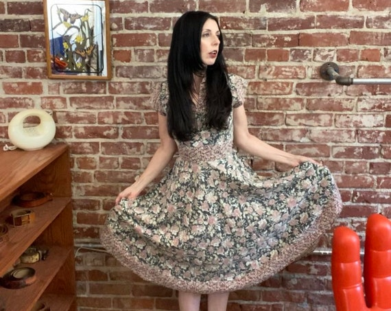 70s Black Floral Cotton Prairie Dress With Waist Cinching Tie