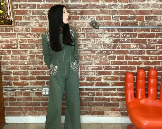 70s Cotton Flared Jumpsuit Size Petite Extra Small