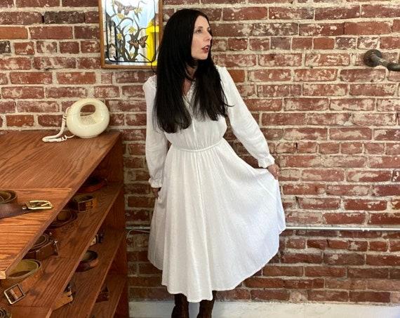 70s Gauze Cotton Crochet Neckline Bohemian Dress Size Medium