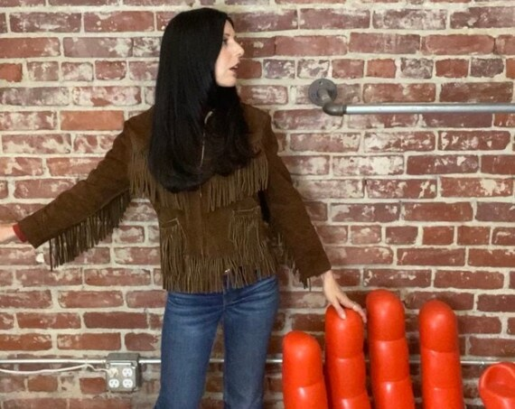 70s Fringe Chocolate Suede Zip Up Jacket