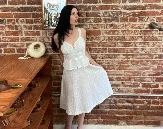 70s Cotton Eyelet Corset Neckline Sundress Size Extra Small