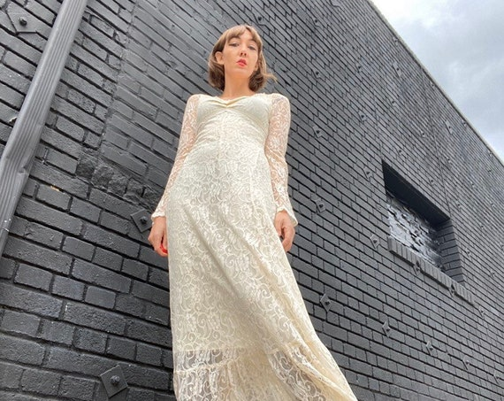 70s Black Label Gunne Sax Gown Ivory Gown with Sheer Trumpet Sleeves