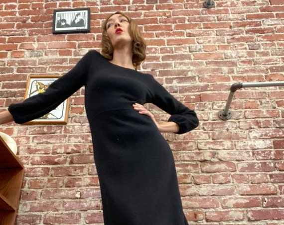 Made in Italy 70s Black Slinky Knit Gown with Balloon Sleeves