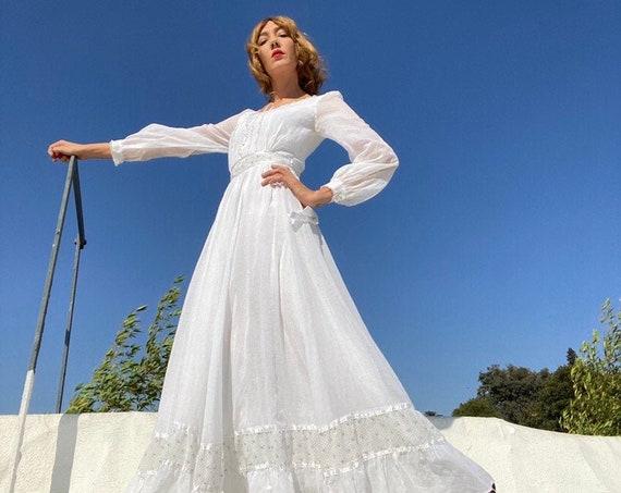 70s Crisp White Gunne Sax Prairie Gown Size 11