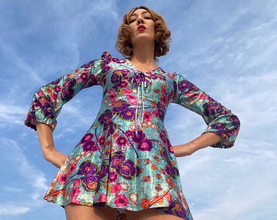 70s Psychedelic Balloon Sleeve Mini Dress