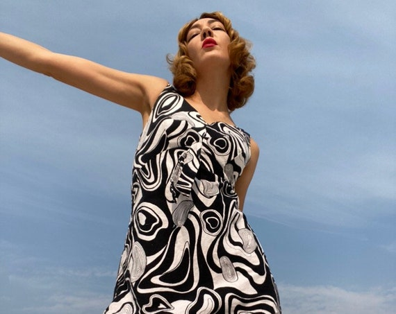 60s Black & White Psychedelic Cotton Mini Dress