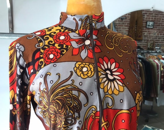70s  Psychedelic Mock Neck Nylon Blouse with Zipper Collar