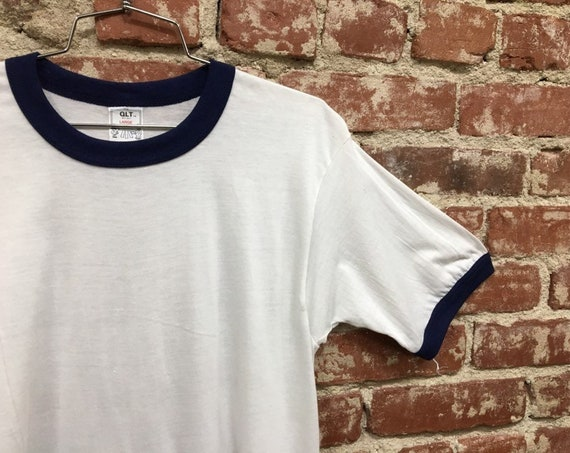 "70s Men's Ringer T-Shirt Size Medium 38"" Chest Soft Thin Tee Seventies 1970s"