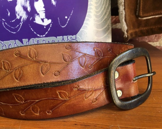 70s Embossed Leather Stamped Brass Buckle Belt Vintage Seventies 1970s